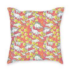 Dino Flower Throw Pillow
