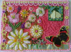 Beautiful beaded fabric postcard ♥