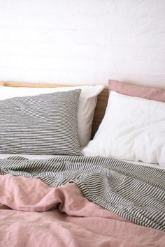 Nothing beats White, Charcoal Stripe & Wildflower Pink Pure French Flax Linen Bedding! Sourced from France and delivered direct to your door, plastic free! Cozy Bedroom, Bedroom Inspo, Home Decor Bedroom, Bedroom Linens, Bedroom Inspiration, Bedroom Apartment, Home Living, My Living Room, Design Your Home