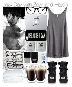 """Lazy Day with Zayn and Hatchi"" by pilar-directioner99 ❤ liked on Polyvore featuring Nivea, All Day, H&M, UGG Australia, Crate and Barrel, Bodum and Butter London"
