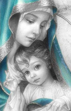 Jesus And Mary Pictures, Mother Mary Images, Pictures Of Jesus Christ, Images Of Mary, Religious Pictures, Mary And Jesus, Blessed Mother Mary, Blessed Virgin Mary, Mary Jesus Mother