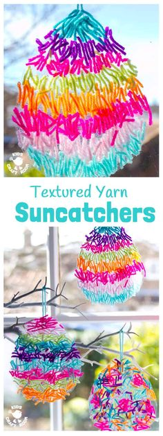 This textured yarn EASTER SUNCATCHER CRAFT is a gorgeous Easter craft or Spring craft for kids of all ages. A simple yarn craft made from scraps, these homemade Easter Egg Suncatchers look stunning in windows or hanging on an Easter tree. These are DIY Ea Yarn Crafts For Kids, Easter Activities For Kids, Spring Crafts For Kids, Egg Crafts, Bunny Crafts, Toddler Crafts, Diy For Kids, Craft Kids, Easter Crafts Kids