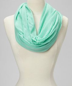 Mint Wide Infinity Scarf by Ann Carol Designs