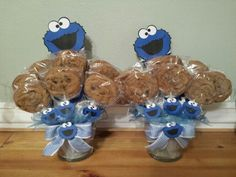 Centerpieces For A Cookie Monster Themed Babyshower.