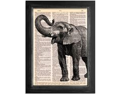 Vintage Elephant - Dictionary Print. Buy online today at Bouf