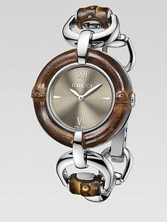 Gucci - Bamboo Accented Stainless Steel Watch/Brown Dial - Saks.com $995