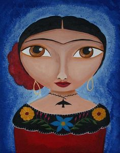 Fridas Red Rose Painting
