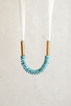 Idea: small accent on ribbon necklace  Turquoise Howlite and Silk Necklace