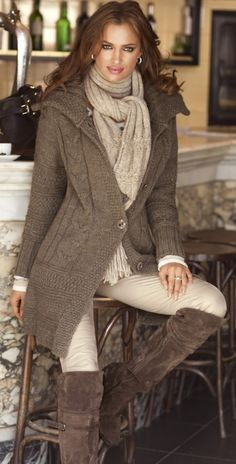 love the long cardigan and scarf