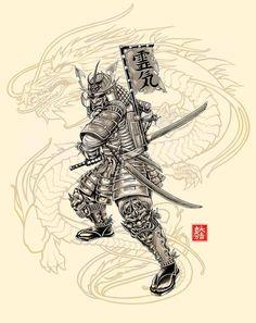 Wonderful Black And Grey Samurai Tattoo Design By Brownone