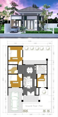 One Side Firewall 3 Bedroom house Plan Modern Bungalow House Design, Minimal House Design, Small House Design, Minimalist Home Design, Sims House Plans, Dream House Plans, Modern House Plans, Small House Plans, Bedroom House Plans