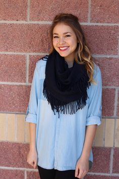 Fringe infinity scarf. A best selling, cozy style! This sweater feel infinity…