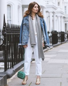 all white 2017 outfit with denim jacket