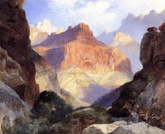 Under the Red Wall, Grand Canyon of Arizona,  1917 Moran, Thomas Painting Reproductions