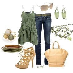 Love everything! This shirt is beautiful and love these sandals.-created by michelled2711