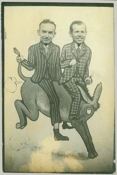 Vintage arcade photo of two men riding a bucking donkey