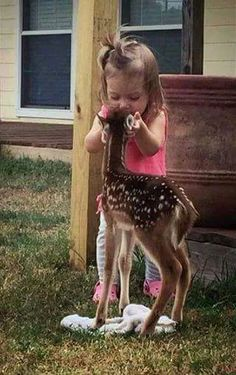 I LOVE THIS PIC SO. MUCH THIS LITTLE GIRL AN FAWN IS SO PRECIOUS AN BEAUTIFUL. TOGETHER