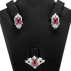 ADORABLE NATURAL OVAL CAB. 7X5mm PINK TOURMALINE,WHITE-CZ 925 SILVER JEWELRY SET #Handmade