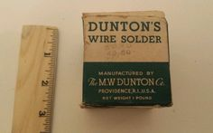 Vintage  Dunton's Wire Solder Duntons Box With close to 1 lb ? Solder MW Dunton Click Image to view on Ebay