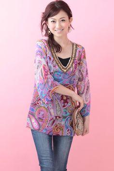 Floral Print Tunic (Purple)   Cherry Ann Online Shop Cherry Ann, Kimono Top, Floral Prints, Tunic Tops, Blouses, Purple, Shopping, Women, Fashion