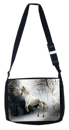 White horse Rosie Parker Inc. TM Medium Sized Laptop Messenger Bag 11.75' x 15.5' -- Details can be found by clicking on the image. (This is an Amazon Affiliate link and I receive a commission for the sales)