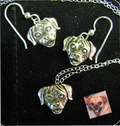 Puppy Dog Head Charm in Sterling Silver What by diggersgoldjewelry