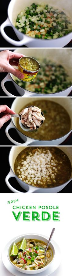 Need something warm and hearty to get through the cold winter nights? This Chicken Posole Verde from @gimmesomeoven will hit the spot! Packed with bold and bright flavors, this soup comes together in just 20 minutes!