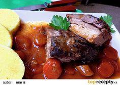 Kančí žebírka na víné a jalovci recept - TopRecepty.cz Steak, Pork, Kale Stir Fry, Pigs, Pork Chops, Steaks
