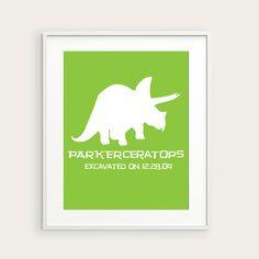 Personalized Childrens Dinosaur Wall Art. $12.00, via Etsy.