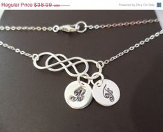 10 SALE Double Silver Infinity and Initial by weddingbellsdesigns, $35.09