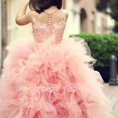 69.30$  Buy now - http://alipao.worldwells.pw/go.php?t=32513879460 - Adorable Sweet Girl Pageant Dress Lace Appliques Ruffled Zipper Up Peach Organza Tulle Ball Gown Wedding Child Dress Sheer Neck