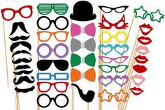 Photo Booth Party - 40 Piece Party Set - Wedding PhotoBooth Props via Etsy