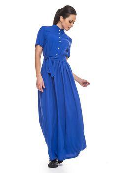 Платье-рубашка макси со стойкой штапель электрик