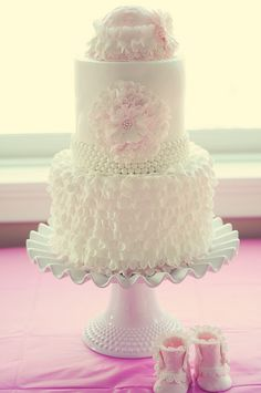 I would change a few things but this is cute--baby girl shower cake by Sweet ideas2010, via Flickr
