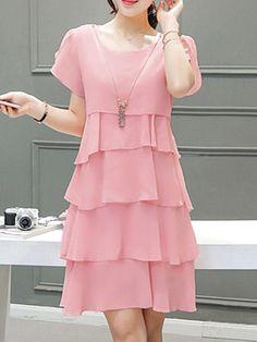 6b752b14bcd4 Popjulia Pink Crew Neck A-line Daily Dress Short Sleeve Casual Chiffon  Tiered Dress #