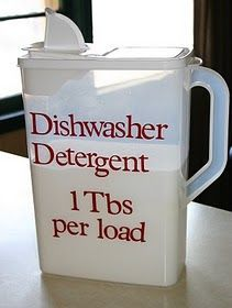 Dishwasher Detergent ingredients: 1 box Borax 1 box Arm Super Washing Soda 24 packages of unsweetened lemonade drink mix 3 cups Epsom Salt If you need a rinsing aid use vinegar. Mix Borax, washing soda, salt and lemonade together in a large, very large, bowl. When ingredients are mixed together well put soap in a container of your choice.
