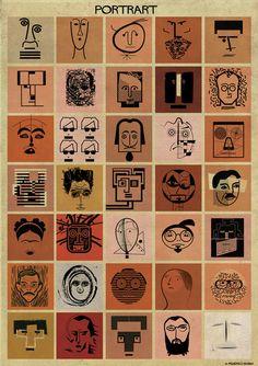 federico babina bases animated portraits of famous artists on their signature style history Tableaux Vivants, Typographie Logo, Portrait Images, Italian Artist, Art Graphique, Elements Of Art, Wedding Art, Teaching Art, Famous Artists