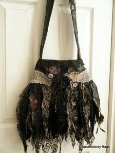 SALE - Gypsy Bag, large Shabby Chic bag, Soft Fringe Bag, Faerie Bag