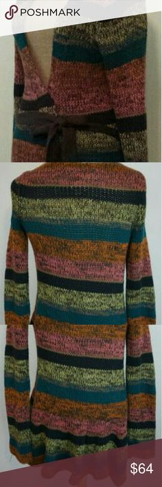 Anthropologie Sparrow Multicolored Sweater (M)🍁 Anthropologie sparrow medium multi color striped long sleeve sweater cardigan.Product description: long sleeves, striped pattern, medium knit style, long length, comes with a belt to keep the cold out, great layering piece! In excellent condition! Size: medium Material: 60% cotton, 40% acrylic. Fast Shipping! Same Or Next Day! Thank you! Anthropologie Sweaters Cardigans
