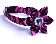 Dog Collar Flower Set: Hot Pink and Black Zebra Fabric Dog Collar with Flower