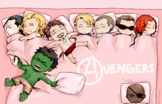 The Avengers sleep like they do everything else - Cap's in the center,Tony fills up all available space, Coulson cuddles up to Cap, Clint and Natasha stick together, Fury lurks in a corner, Thor crowds Loki, and Hulk is always prepared to smash.