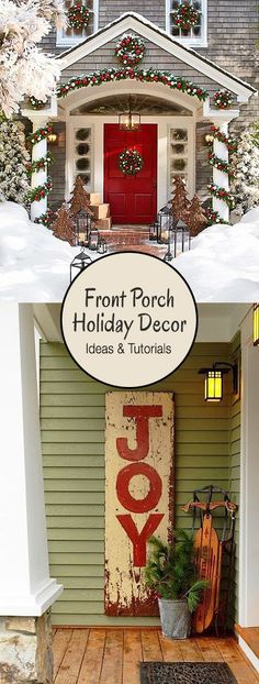 Front Porch Christmas Decor Creative Ways to Decorate your Front Porch for the Holidays Ideas amp;Creative Ways to Decorate your Front Porch for the Holidays Ideas amp; Noel Christmas, Country Christmas, Christmas Projects, Front Porch Ideas For Christmas, Christmas Ideas, Primitive Christmas, Fromt Porch Ideas, Christmas Florida, Christmas History