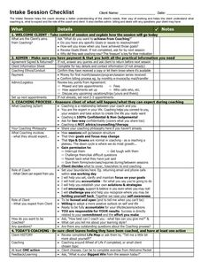 Check out this Free Tool & more here! Never forget something in your initial coaching session again - with this Intake Session Template and Checklist!