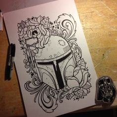 Boba Fett tattoo design by James Mullin Tattoos.