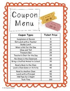 Coupon Reward Ticket Menu Behavior Management - coupon menu for ticket system behavior management classroom - Classroom Incentives, Classroom Economy, Behavior Incentives, Classroom Behavior Management, Behavior Plans, Behaviour Management, Classroom Procedures, Kindergarten Behavior System, Classroom Money System