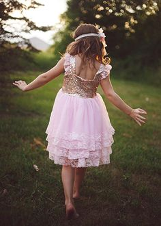 The Hair Bow Company | Gold & Pink Sequin, Chiffon, and Lace Dress