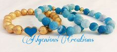 Gemstone and Enamel Stacked Bracelet Set by NGeniousCreations, $50.00