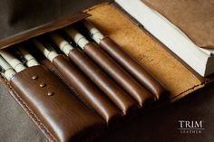 Vintage Journal Sketch Book Case with Pen holder   TRIMleather on Etsy ...beautiful handmade leather items