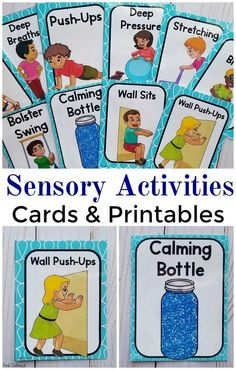 Sensory Activities Cards and Printables. These are great for calm down activities, calm down kits, special education, occupational therapy, physical therapy, the classroom and more! Easy to use sensory activity cards and full sheet printables.