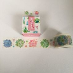 Extra wide washi tape with bright succulents. Perfect for scrapbooking, gift wrap, planners and journals. - 3 cm wide x 10 m long Brand new, price is for one roll.